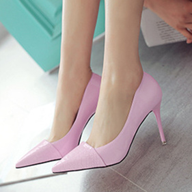 Women's Pink Pointy Toe Low-cut Stiletto Heels Pumps Shoes