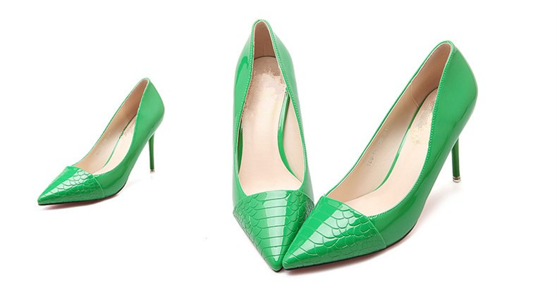 Green Stiletto Heels Python Pointy Toe Pumps