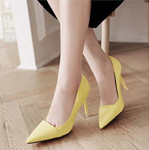 Women's Yellow Pointy Toe Low-cut Stiletto Heels Pumps Shoes