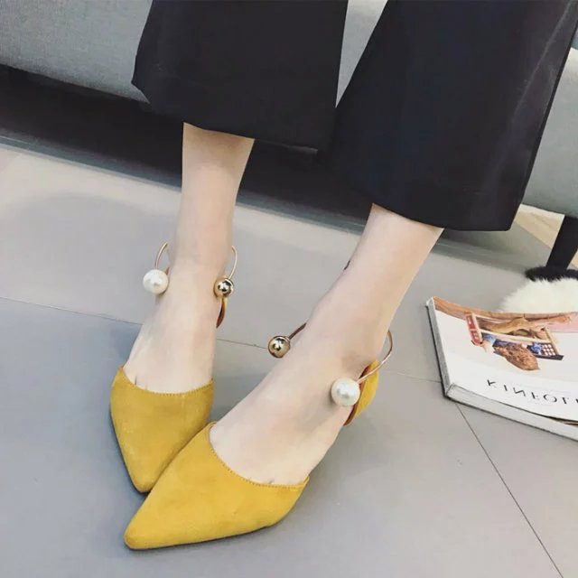 Women's Yellow Suede Pearl Comfortable  Pointy Toe Flats