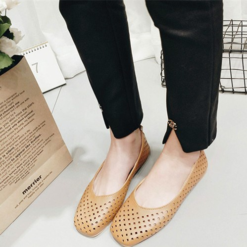 Women's Khaki with Pearl Hollow Out Vintage Comfortable Flats