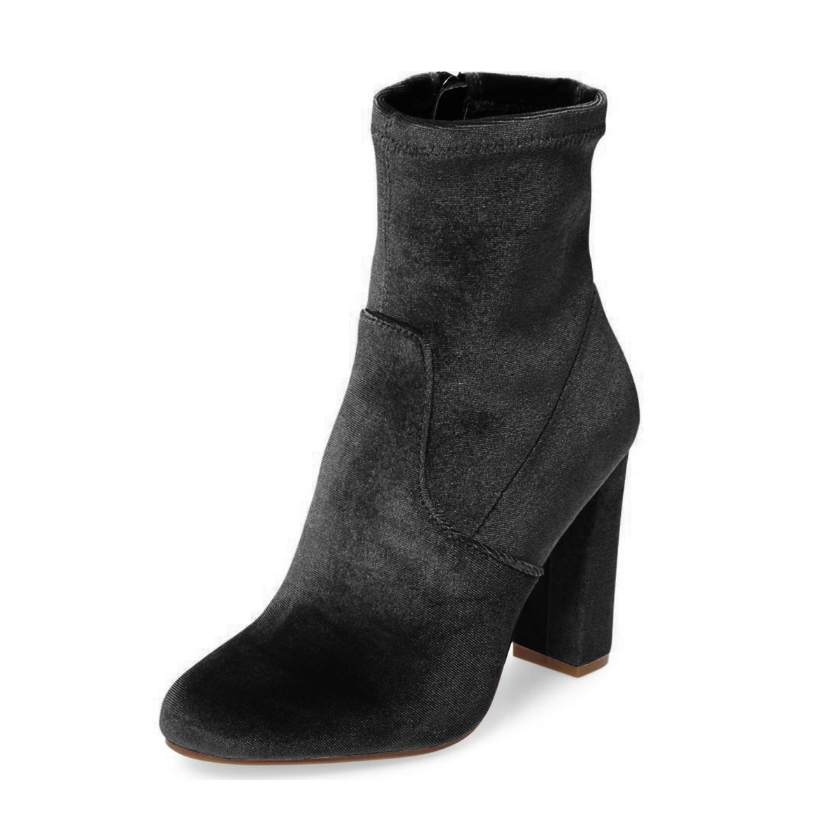 Women's Grey Suede Pointed Toe Ankle Chunky Heel Boots