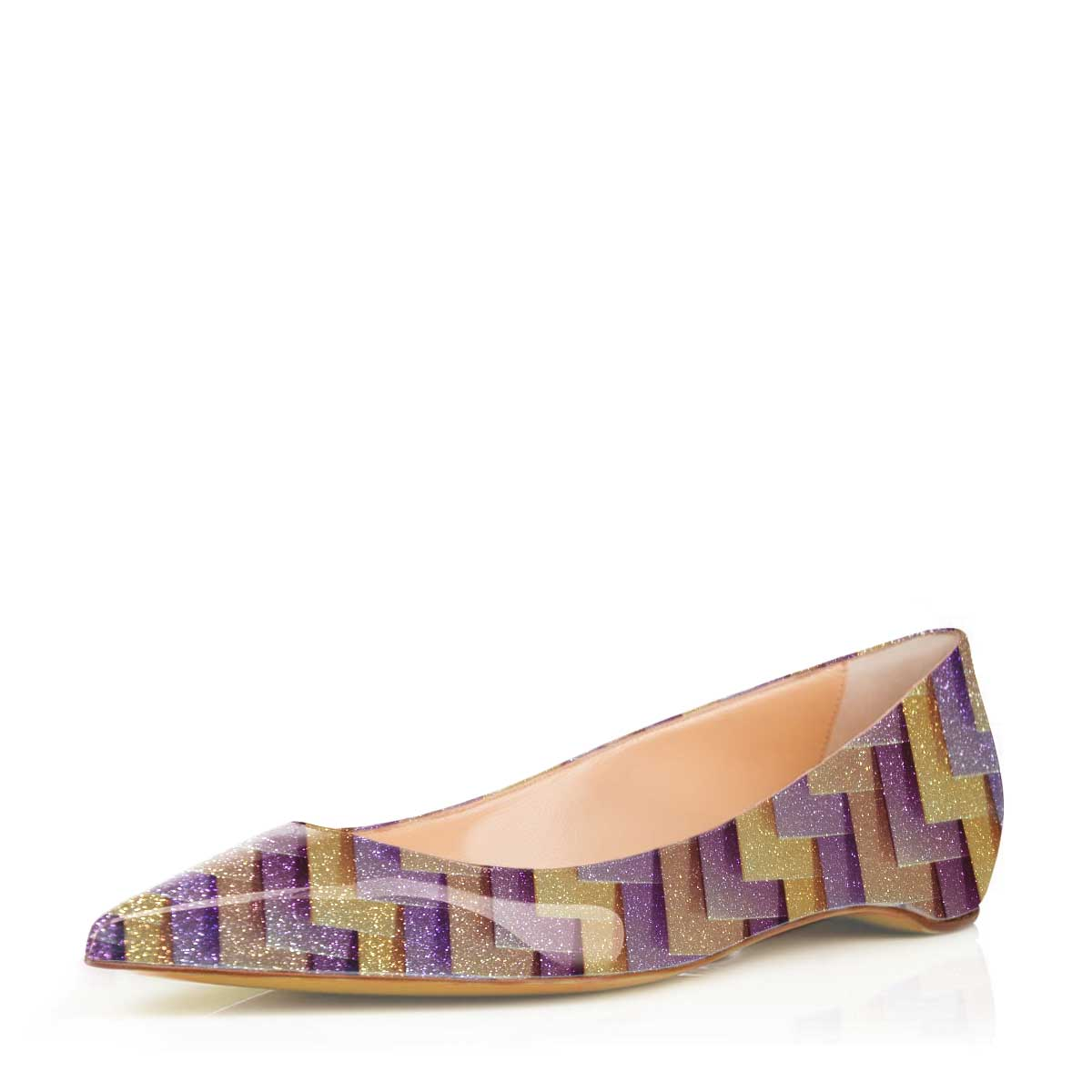 Women's Purple Crystal Dress Shoes Pointed Toe Comfortable Flats