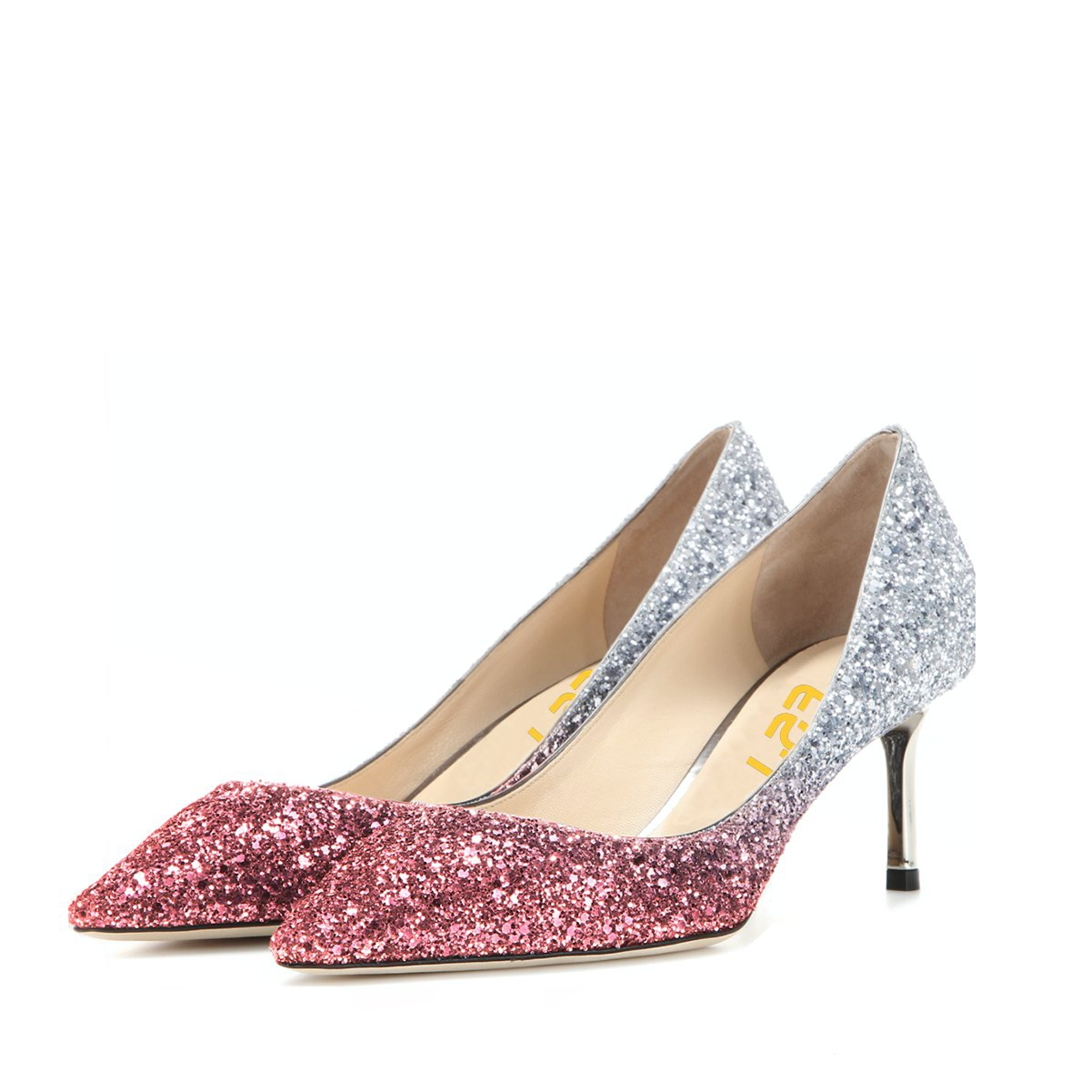 Pink and Silver Bridal Heels Sparkly Pointy Toe Glitter Kitten Heels Pumps