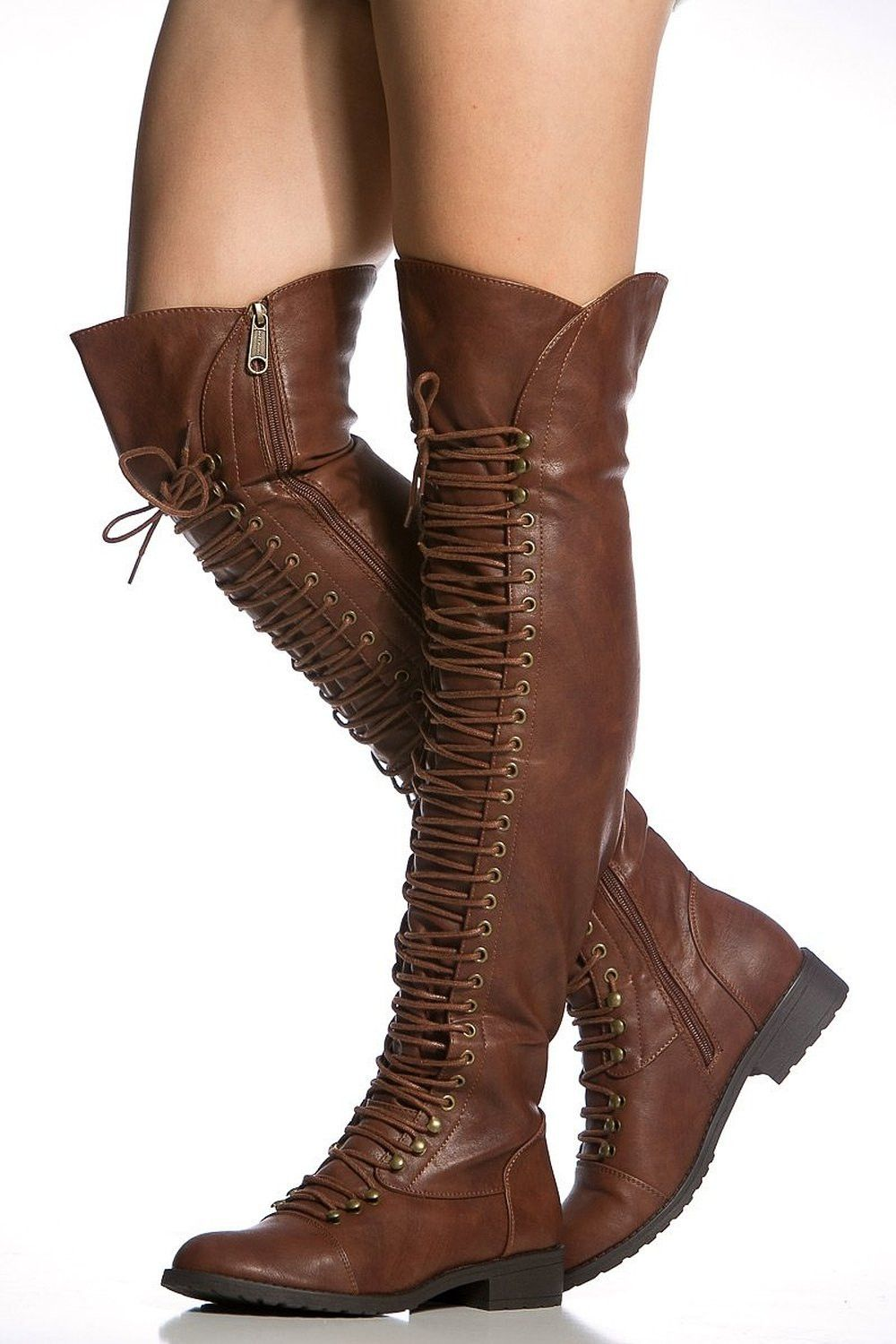 Brown Lace up Boots Knee High Boots Round Toe Flat Fashion Boots
