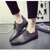 Women's Grey Point Toe Lace Up Vintage Comfortable Flats thumb 1