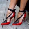4 inch Heels Red Pointy Toe Strappy Heels Ankle Strap Pumps thumb 1