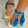 Blue Yellow Stiletto Heels Tassels Peep Toe Ankle Strap Sandals thumb 1