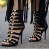 Black and Gold Strappy Sandals Open Toe Stiletto Heels for Sexy Ladies thumb 1