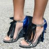 Black and Royal Blue Fringe Sandals Open Toe Stiletto Heels thumb 1