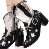 Black and Silver Cowgirl Boots Star Chunky Heel Mid Calf Boots  thumb 1