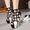Women's White and Black Peep Toe Hollow out Platform Shoes thumb 1