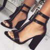 Black Bamboo Texture Zipper T Strap Chunky Heel Ankle Strap Sandals  thumb 1