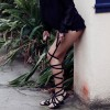 Black Gladiator Sandals Knee-high Heels Strappy Sandals for Women thumb 1