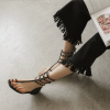 Black Gladiator Sandals Studded Comfortable Flats for Girls thumb 1