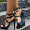 Black Patent Leather Stiletto Heels Buckles Platform Sandals thumb 1