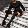 Black Peep Toe Chunky Heel Boots Thigh High Boots thumb 1