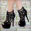 Black Summer Boots Peep Toe Laser Cut Platform Sexy Shoes thumb 1