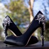 Black Prom Shoes Satin Stiletto Heels Rhinestone Evening Shoes thumb 1