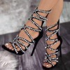 Rhinestone Stiletto Heels Open Toe Strappy Sandals Evening Shoes thumb 1