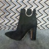 Black Suede Classic Chunky Heel Ankle Booties thumb 1