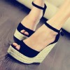 Black Suede Espadrille Sandals Peep Toe Platform Wedge Sandals thumb 1
