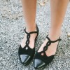 Black T Strap Suede Shoes Comfortable Flats for Women thumb 1