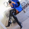 Black Thigh High Heel Boots Sexy Metal Circle Stiletto Heel Long Boots thumb 1