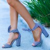 Blue and White Plaid Chunky Heels Peep Toe Bow Ankle Strap Sandals thumb 1