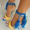 Blue and Yellow Tassel Sandals Peep Toe Suede Stiletto Heels thumb 1