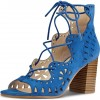 Blue Suede Hollow Out Lace Up Block Heel Sandals thumb 1