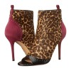 Brown Suede Horse Fur Leopard Print Boots Peep Toe Ankle Boots thumb 1