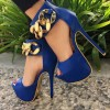 Cobalt Blue Shoes Peep Toe Metal Chain Ankle Strap Platform Pumps thumb 1