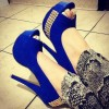 Cobalt Blue Shoes Peep Toe Suede Platform Pumps Studs Shoes  thumb 1
