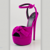 Pink Bow Ankle Strap Platform Sandals Heels thumb 1