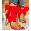 Custom Made Red Rhinestone Closed Toe Ankle Tie Heels thumb 1