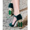 Custom Made Dark Green Velvet T Strap Rhinstone Heel Pumps thumb 1