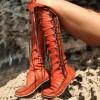 Women's Orange Lace-up Strappy Flats Vintage Boots thumb 1