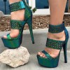 Green Platform Sandals Hollow out Open Toe High Heel Shoes thumb 1
