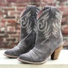 Grey Suede Cowgirl Boots Chunky Heel Mid-Calf Boots thumb 1
