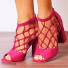 Women's Hot Pink Nets Peep Toe Heels Chunky Heel Sandals thumb 1