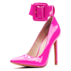Fuchsia Patent Leather Buckle Ankle Strap Heels Pumps thumb 1