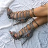 Grey Strappy Heels Lace up Sandals Stiletto Heels Shoes for Women thumb 1