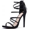 Black Strappy Sandals Suede Stiletto Heels for Women thumb 1