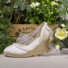 Ivory Canvas Platform Wedding Wedges with Pearls and Mesh thumb 1