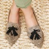 Khaki Leopard Print Flats Suede Loafers for Women with Tassels thumb 1