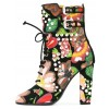 Floral and Studs Lace up boots Buckles Chunky Heels Ankle booties thumb 1