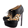 Black and Leopard Wingtip Boots Platform Fashion Ankle Boots thumb 1