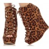 Leopard Print Boots Peep Toe Heels Platform Lace-up Heels Shoes thumb 1