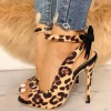 Leopard Print Heels Ankle Strap Bow Pumps thumb 1